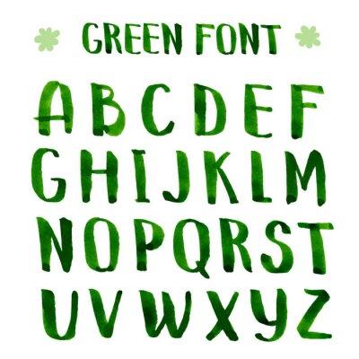 Фотообои Ручной чернил зеленый алфавит.