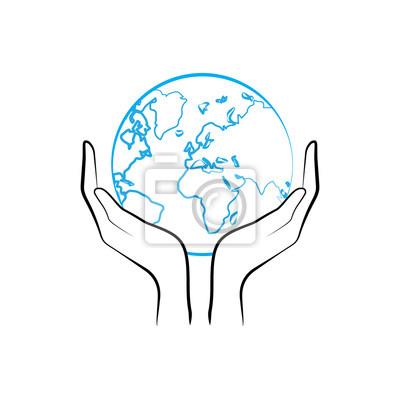 Нарисовать руки держат планету