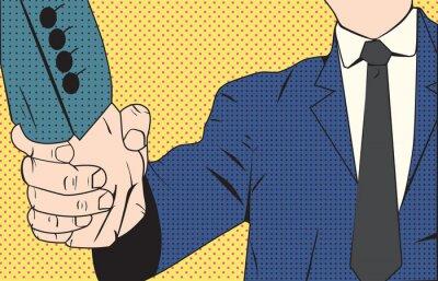 Фотообои Рукопожатие бизнесмен ретро-стиле поп-арт