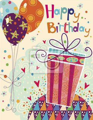 фотообои Happy Birthday Greeting Card With Gift Balloons