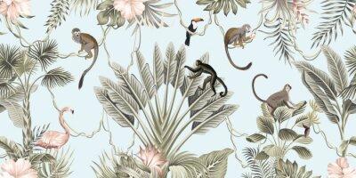 Фотообои  Hawaiian vintage botanical palm tree,banana tree, palm leaves, hibiscus flower, liana, monkey animal summer paradise floral seamless border blue background.Exotic jungle wallpaper.  G