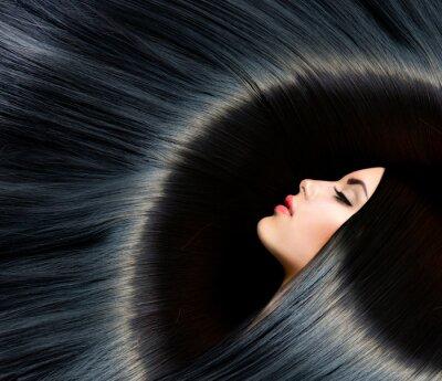 Фотообои Здоровый длинные черные волосы. Красота брюнетка женщина