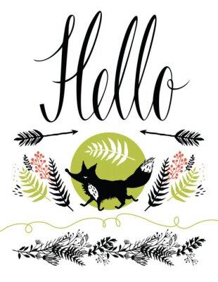 Фотообои Привет открытки дизайн обложки. Счастливые лесные лиса и травы, стрелки
