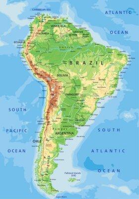 Фотообои Высокая подробные Южная Америка физическая карта с маркировкой.