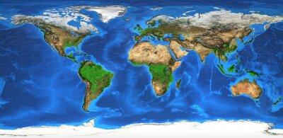 Фотообои карта мира с высоким разрешением и формы рельефа