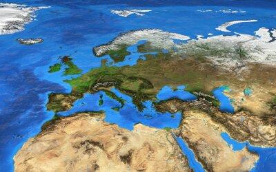 Фотообои карта мира с высоким разрешением сосредоточено на Европе