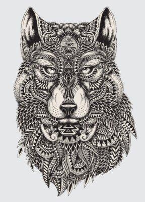Фотообои Очень подробный абстрактный волк иллюстрация