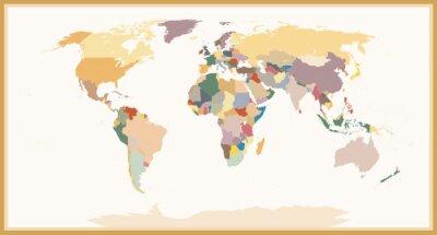 Фотообои Высокой степенью детализации Слепой Политическая карта мира Урожай Цвета
