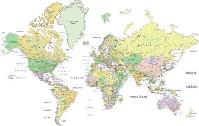 Фотообои Очень подробный Политическая карта мира с маркировкой.