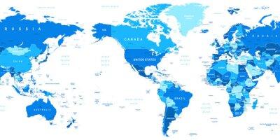 Фотообои Очень подробные векторные иллюстрации карты мира. Изображение содержит земельные контуры, названия стран и земли, названия городов, имена объектов воды.