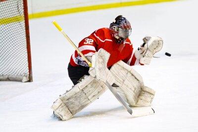 Фотообои Хоккейный вратарь в родовом красного оборудования защищает ворота