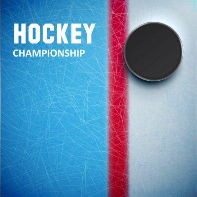 Фотообои Хоккейная шайба, изолированных на льду вид сверху