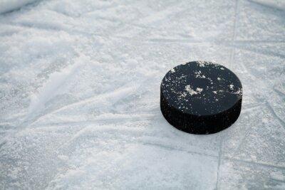 Фотообои Хоккейная шайба на льду хоккейного катка