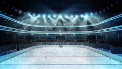Фотообои хоккейный стадион со зрителями и пустыми каток