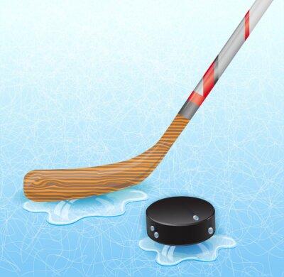 Фотообои Хоккейная клюшка и шайба. Иллюстрация 10 версии.