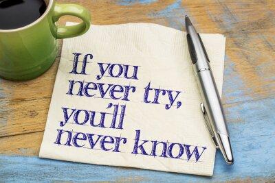 Фотообои Если вы никогда не попробовать фразу на салфетке