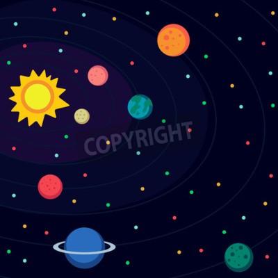 Фотообои Иллюстрация в стиле плоской о космическом пространстве.