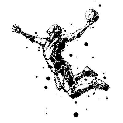 Фотообои иллюстрация абстрактной баскетболист в прыжке