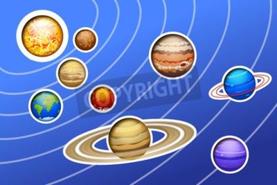 Фотообои Иллюстрация выводимым Солнечной системы с линиями на синем фоне