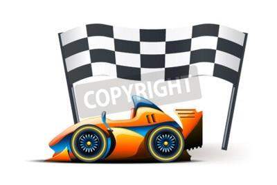 Фотообои Иллюстрация формула один и флаг на нем на белом фоне