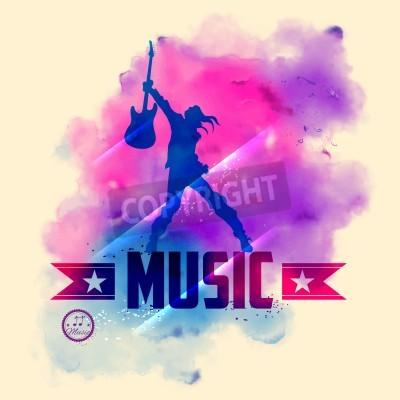 Фотообои Иллюстрация рок-звезда с гитарой для музыкального фона