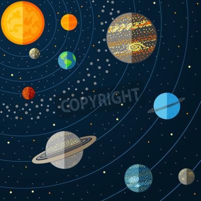 Фотообои Иллюстрация Солнечной системы с планетами. Векторная иллюстрация