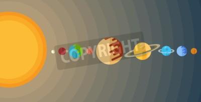 Фотообои Иллюстрация Солнечной системы в плоском стиле.