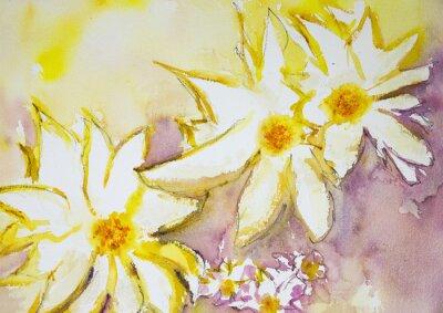 Фотообои Впечатление от диких цветов на желтом и красном фоне. Техника прикладывая вблизи краев дает эффект мягкой фокусировки благодаря измененному шероховатости поверхности бумаги.