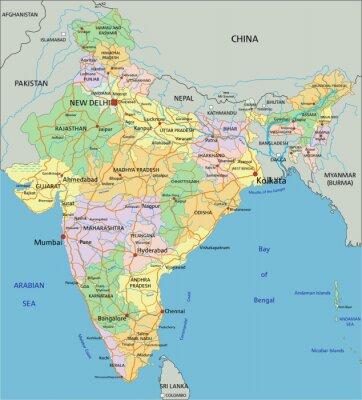 Фотообои Индия - очень подробные редактируемые политическая карта с маркировкой.