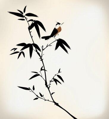 Фотообои чернила окрашены бамбука и птица
