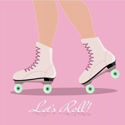 Фотообои Пригласительный билет с роликовых коньках ботинки