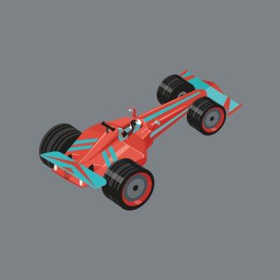 Фотообои Изометрические спортивный автомобиль. Изолированные вектор мультфильм авто для гонок. Красный спортивный автомобиль с гонщиком внутри.