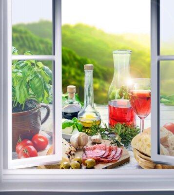 Фотообои Italienische Küche - Vorspeisen (Antipasti) Fenster-ам