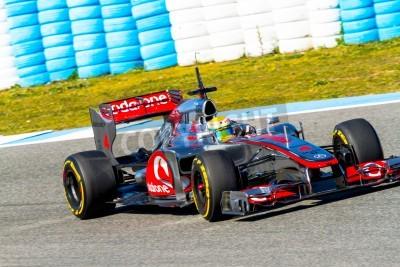 Фотообои Херес де ла Фронтера, Испания - Фев 10: Льюис Хэмилтон из McLaren F1 гонок на тренировке 10 февраля 2012 года, в Херес-де-ла-Фронтера, Испания