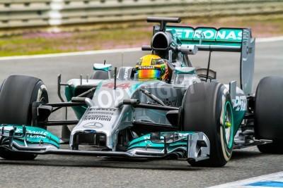 Фотообои Херес де ла Фронтера, Испания - Ян 31: Льюис Хэмилтон Mercedes F1 гонок на тренировке 31 января 2014 года, в Херес-де-ла-Фронтера, Испания
