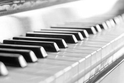 Фотообои Клавиатура пианино. Черно-белое изображение с селективный фокус