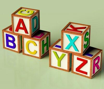 Фотообои Детские блоки с АВС и XYX как символ для образования и Learnin