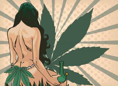 Фотообои Lady with cannabis leaf. The marijuana leafs on the background. Naked woman, vector image