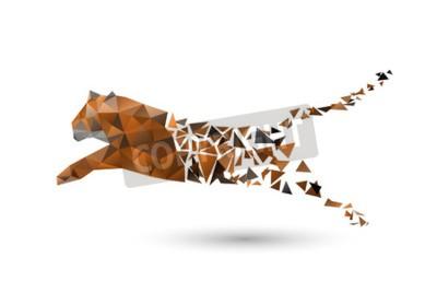 Фотообои прыгая тигр из полигонов