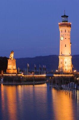 Фотообои Leuchtturm фон Линдау Бодензее Bei Nacht