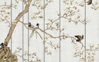Фотообои Light textured background, white magnolia flowers on a tree and birds