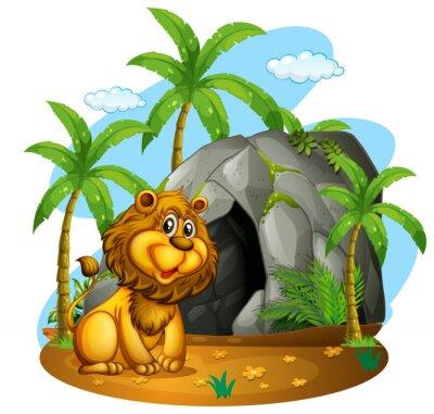 Фотообои Лев сидит в передней части пещеры