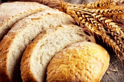 Фотообои Голова нарезанный белый хлеб с ушами пшеницы