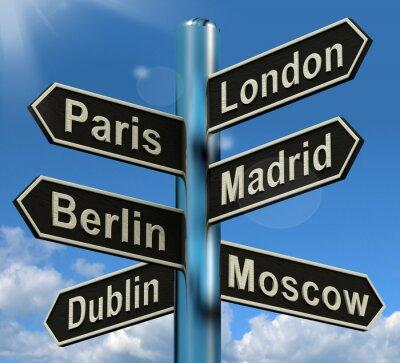 Фотообои Лондон Париж Мадрид Берлин Указатель Показаны Европа Путешествие TourIS