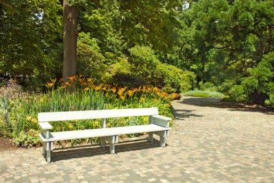 Фотообои Одинокая деревянная скамейка в парке.