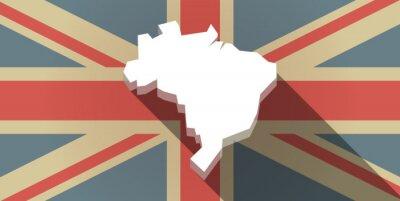 Фотообои Длинная тень Великобритании значок флаг с картой Бразилии