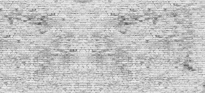 Фотообои Длинная белая кирпичная стена