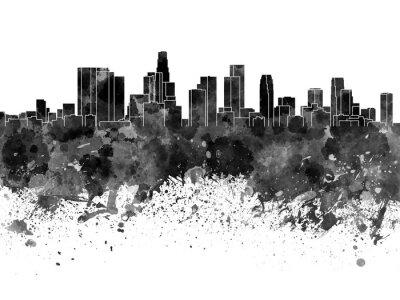 Фотообои Лос-Анджелес небоскребов в черном акварелью на белом фоне
