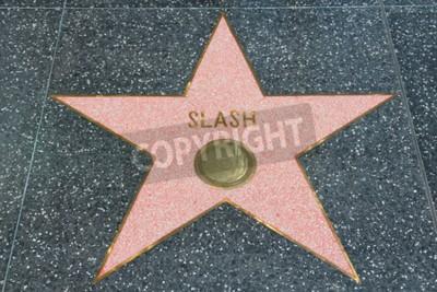 Фотообои ЛОС-АНДЖЕЛЕС, США - 5 апреля 2014 года: Slash (гитарист Guns N 'Roses) на знаменитой Аллее славы в Голливуде. Голливудская аллея славы насчитывает более 2500 звезд с именами знаменитостей.