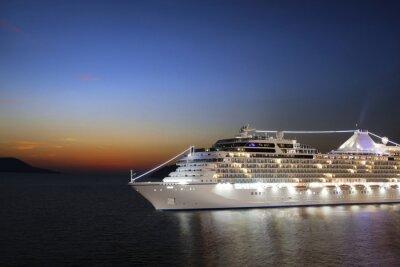 Фотообои Роскошный круизный корабль парусный спорт в порту восхода